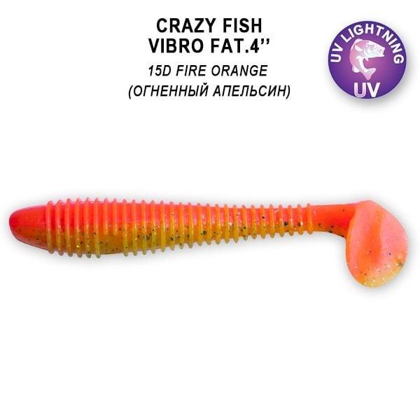 Crazy Fish Vibro Fat 10см Силиконова примамка 15D Fire Orange
