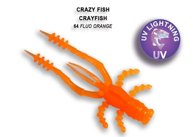 Crazy Fish CrayFish 4.5см Силиконова примамка 64 Fluo Orange