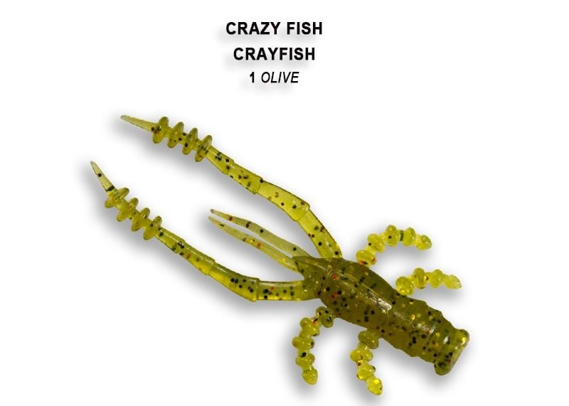 Crazy Fish CrayFish 4.5см Силиконова примамка 01 Olive