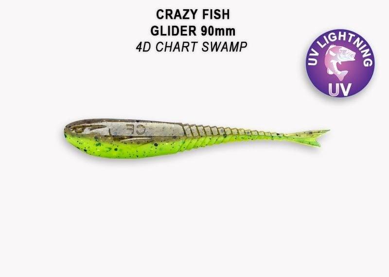 Crazy Fish Glider 9см Силиконова примамка  4D Chart Swamp