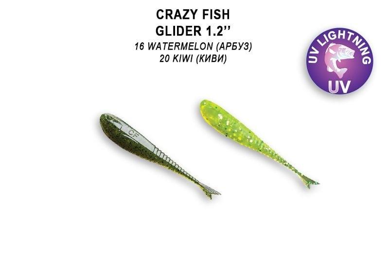 Crazy Fish Glider 3см Силиконова примамка 16 Watermelon - 20 Kiwi