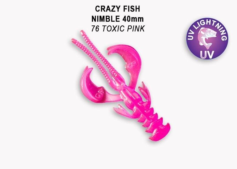 Crazy Fish Nimble 4см Силиконова примамка  76 Toxic Pink