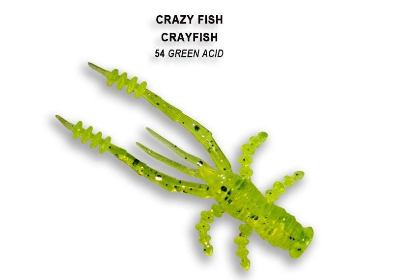 Crazy Fish CrayFish 4.5см Силиконова примамка 54 Green Acid