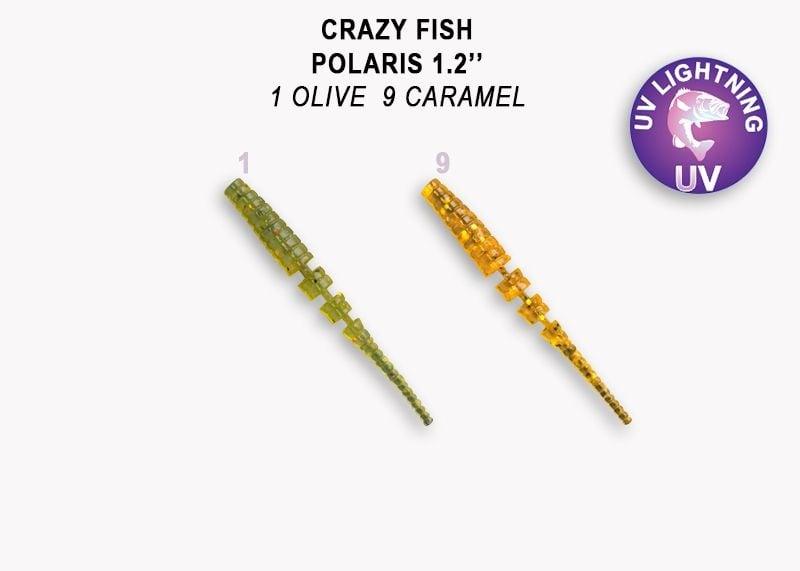 Crazy Fish Polaris 3см Силиконова примамка 01 Olive - 09 Caramel