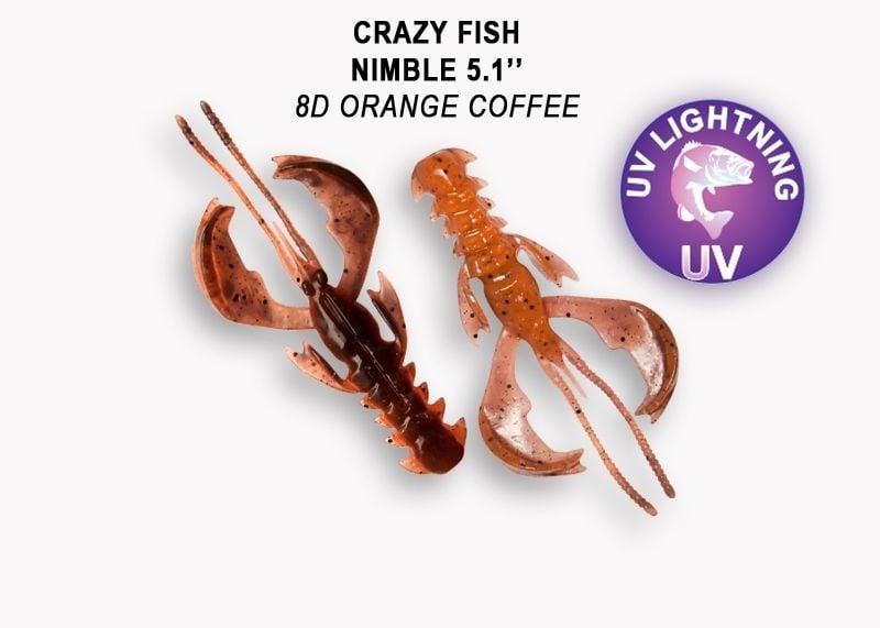 Crazy Fish Nimble 12.5см Силиконова примамка 8D Orange Coffee