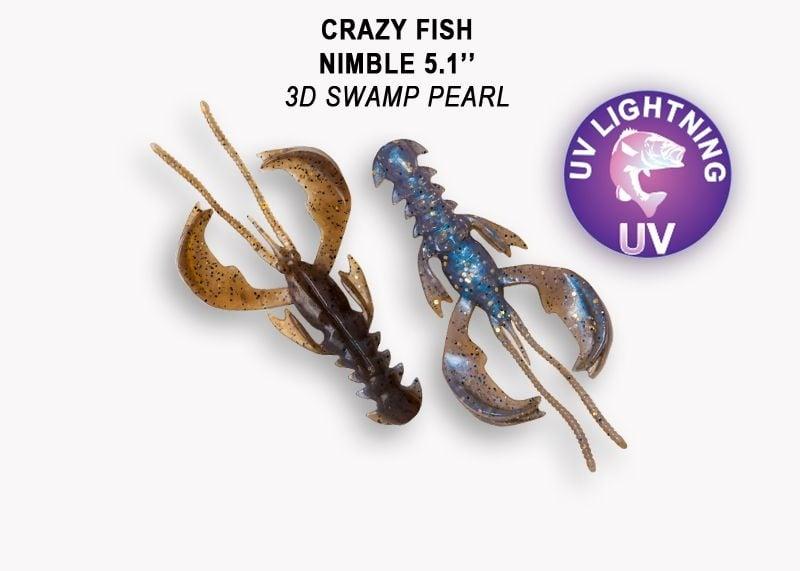 Crazy Fish Nimble 12.5см Силиконова примамка 3D Swamp Pearl