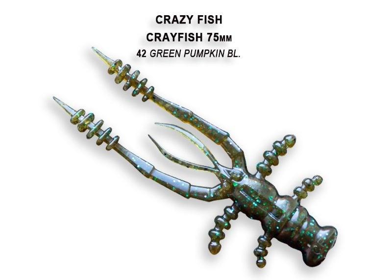 Crazy Fish CrayFish 7.5см Силиконова примамка  42 Green Pumpkin