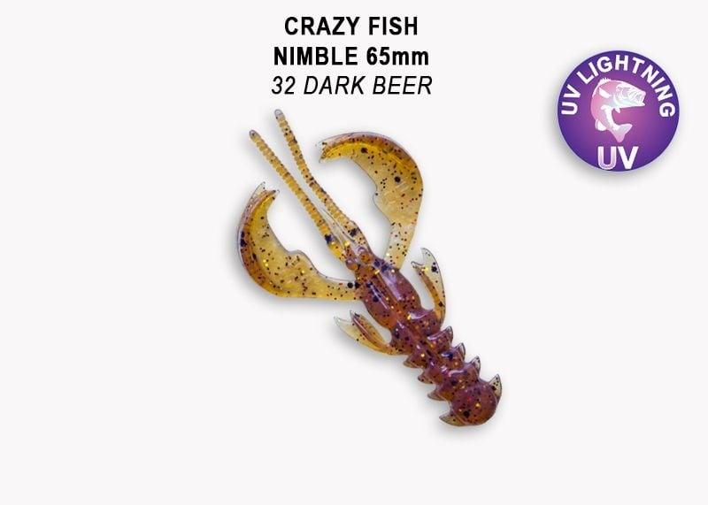 Crazy Fish Nimble 6.5см Силиконова примамка  32 Dark Beer