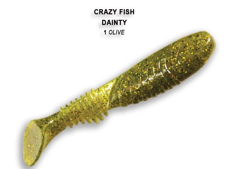 Crazy Fish Dainty 8.5см Силиконова примамка  01 Olive