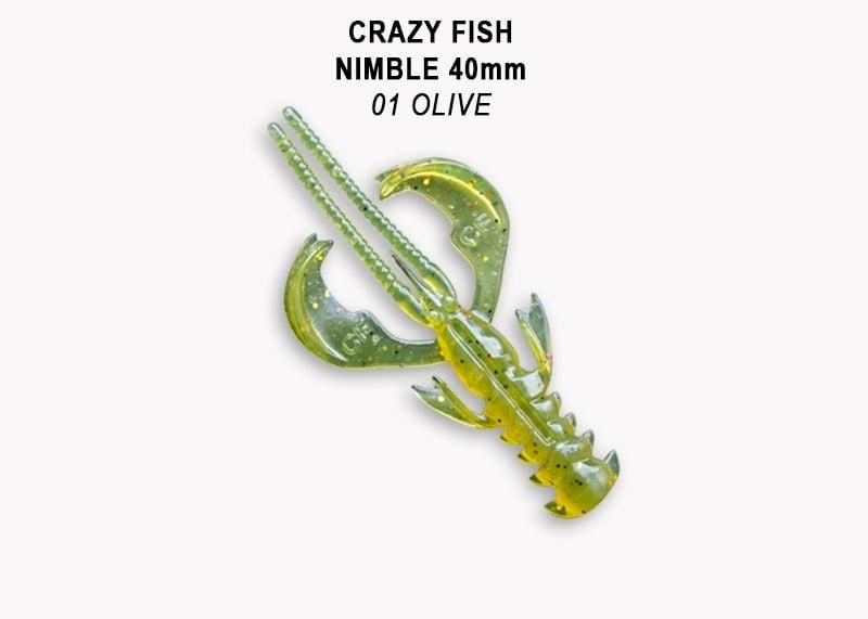 Crazy Fish Nimble 4см Силиконова примамка  01 Olive