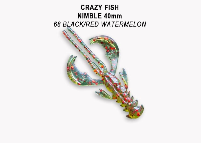 Crazy Fish Nimble 4см Силиконова примамка  68 Black/Red Watermelon