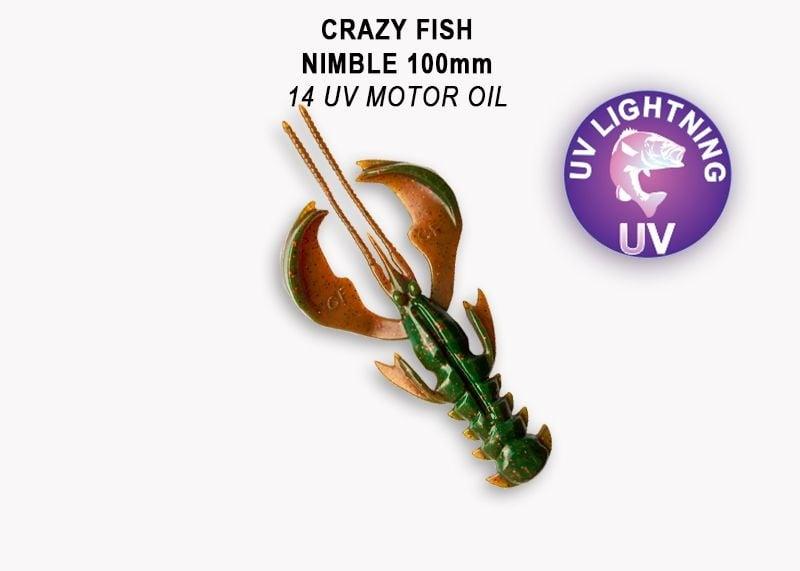 Crazy Fish Nimble 10см Силиконова примамка 14 UV Motor Oil