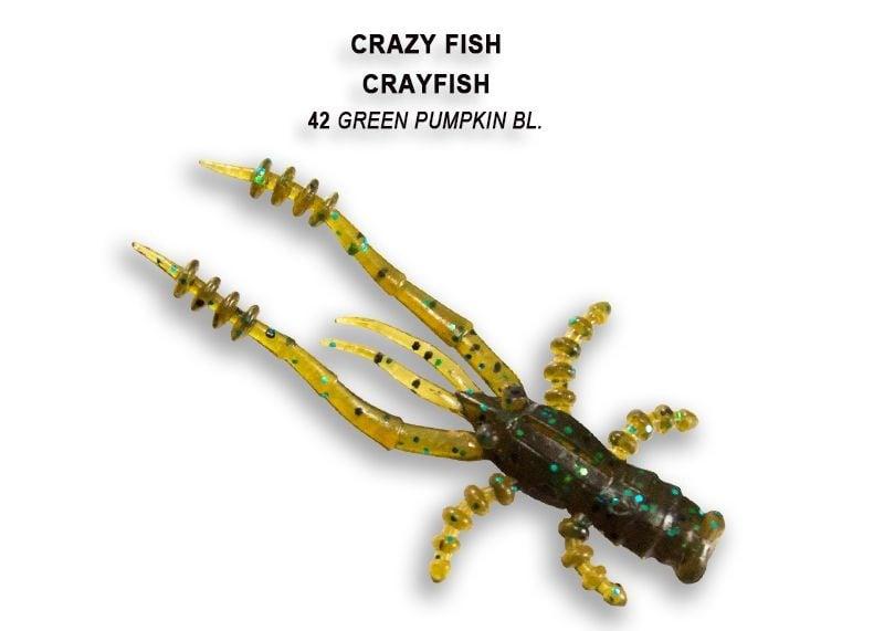 Crazy Fish CrayFish 4.5см Силиконова примамка 42 Green Pumpkin