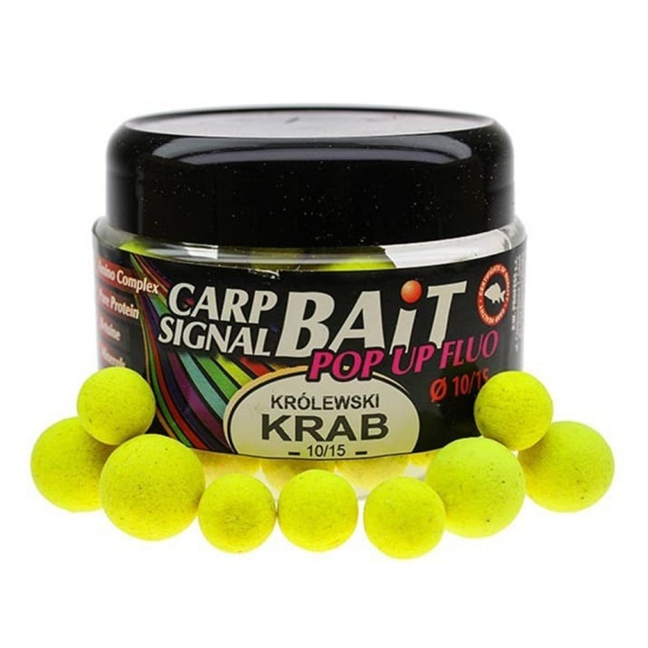 Profess Boilies Carp Signal Fluo POP UP 10/15мм Протеинови топчета 200мл Krolewski Krab