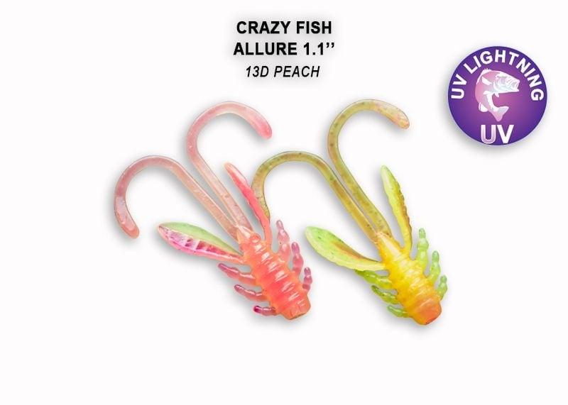 Crazy Fish Allure 2.7см Силиконова примамка 13D Peach