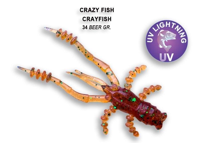 Crazy Fish CrayFish 4.5см Силиконова примамка 34 Beer Gr.