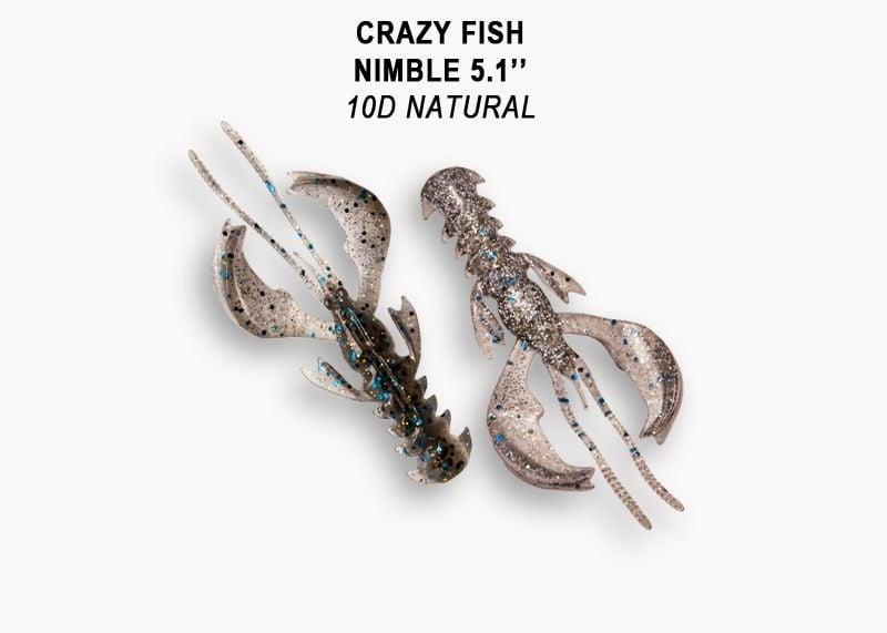 Crazy Fish Nimble 10см Силиконова примамка 10D Natural