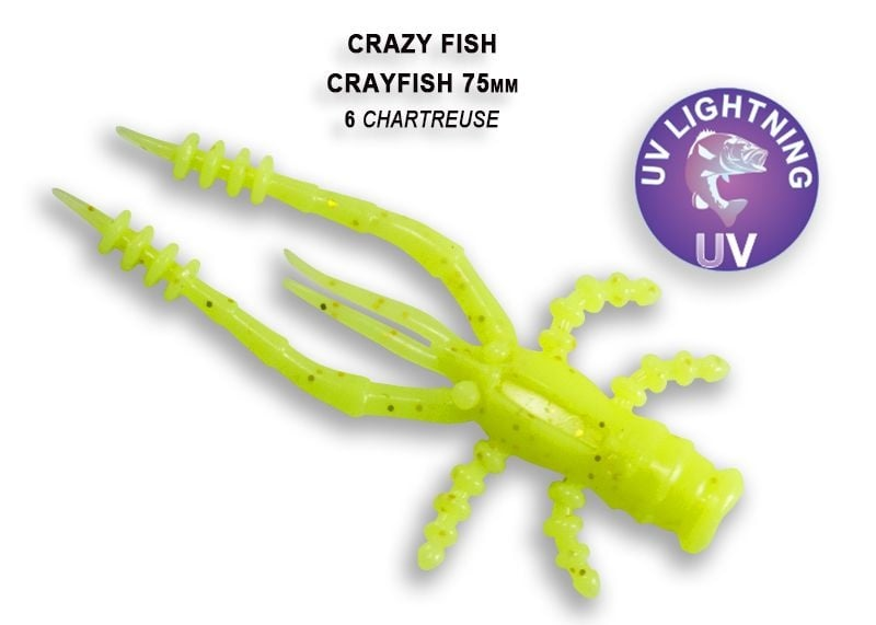 Crazy Fish CrayFish 7.5см Силиконова примамка  06 Chartreuse