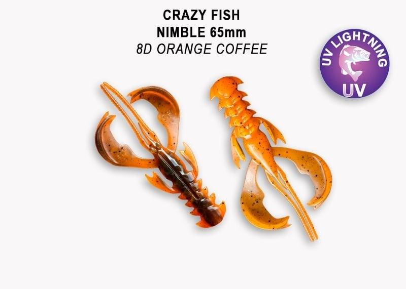 Crazy Fish Nimble 6.5см Силиконова примамка  8D Orange Coffee