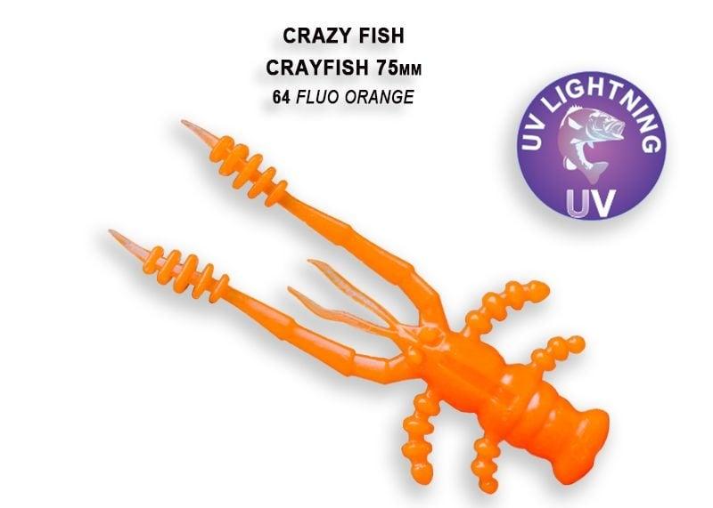 Crazy Fish CrayFish 7.5см Силиконова примамка  64 Fluo Orange