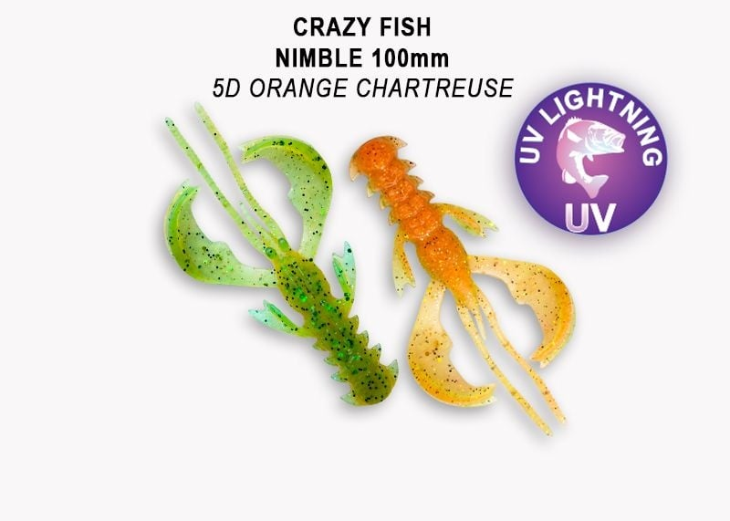 Crazy Fish Nimble 10см Силиконова примамка 5D Orange Chart