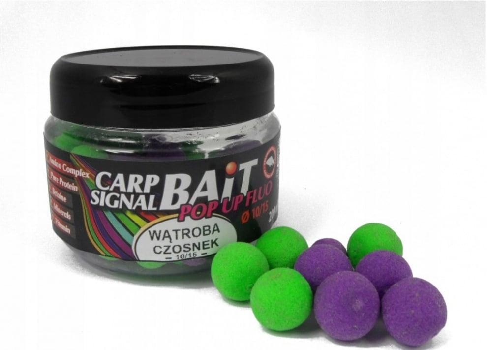 Profess Boilies Carp Signal Fluo POP UP 10/15мм Протеинови топчета 200мл Черен Дроб и Чесън