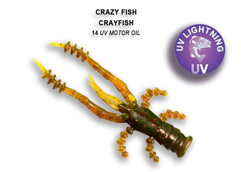 Crazy Fish CrayFish 4.5см Силиконова примамка 14 UV Motor Oil