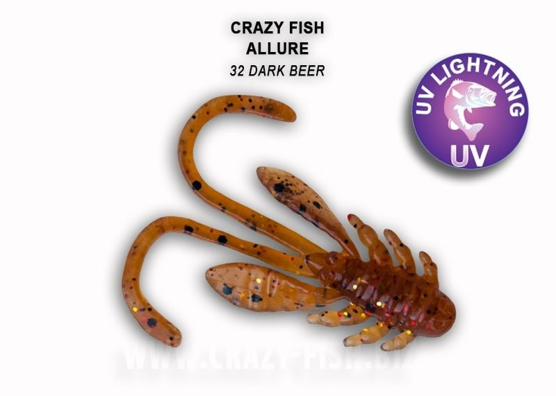 Crazy Fish Allure 4см Силиконова примамка 32 Dark Beer