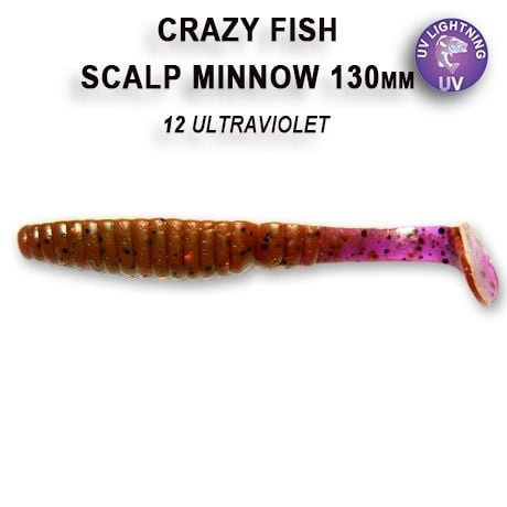 Crazy Fish Scalp Minnow 13см Силиконова примамка 12 Ultraviolet