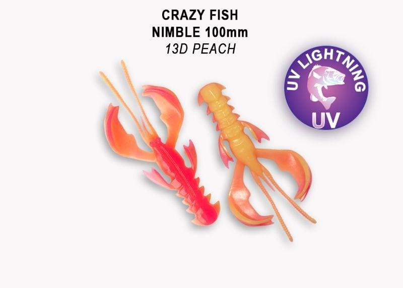 Crazy Fish Nimble 10см Силиконова примамка 13D Peach