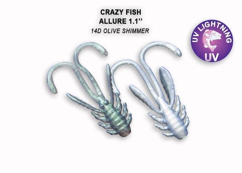 Crazy Fish Allure 2.7см Силиконова примамка 14D Olive Shimmer