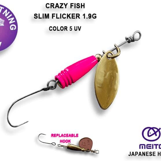 Crazy Fish Slim Flicker 1.9гр. Блесна Цвят 5 UV