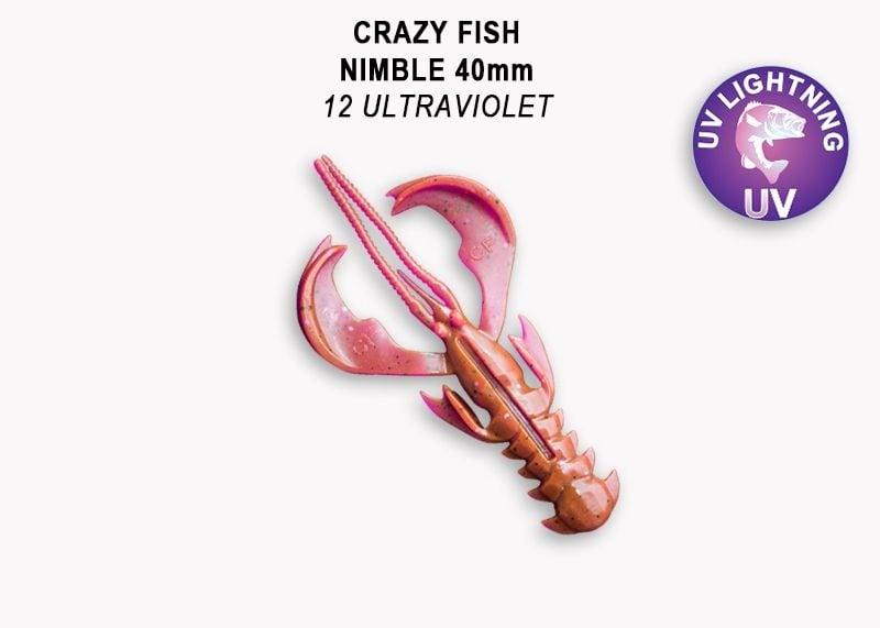 Crazy Fish Nimble 4см Силиконова примамка  12 Ultraviolet