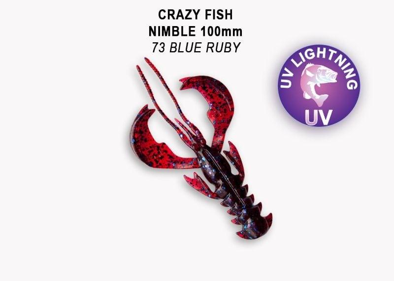 Crazy Fish Nimble 10см Силиконова примамка 73 Blue Ruby