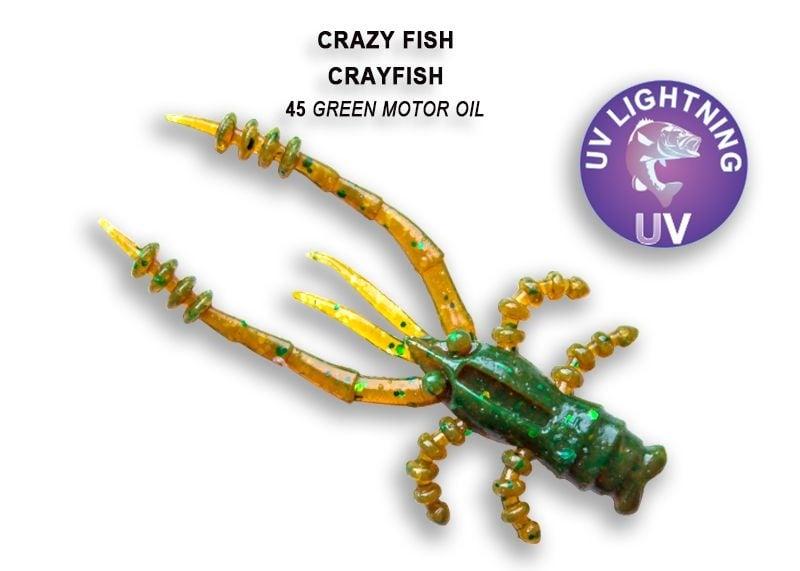 Crazy Fish CrayFish 4.5см Силиконова примамка 45 Green Motor Oil