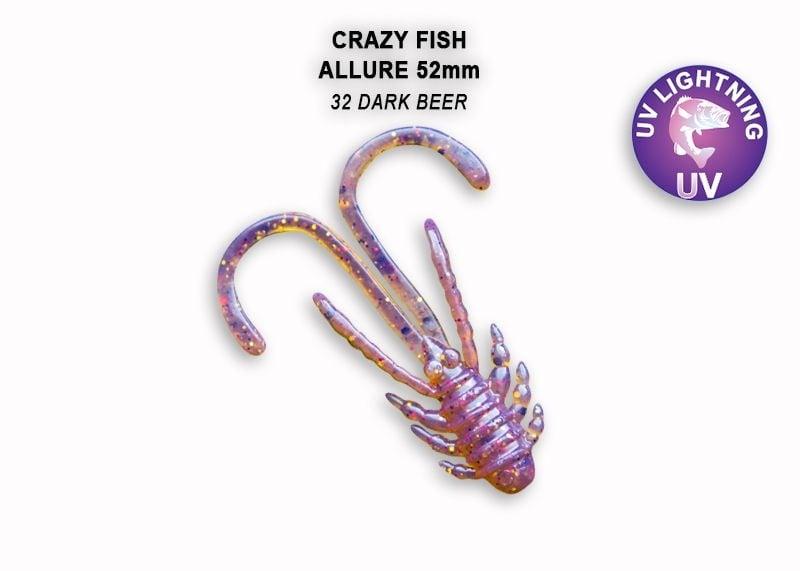 Crazy Fish Allure 5.2см Силиконова примамка 32 Dark Beer