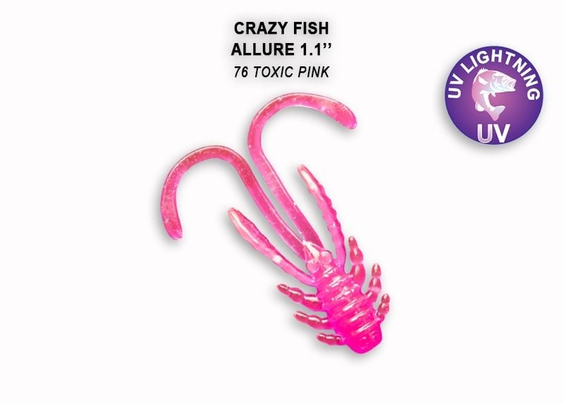 Crazy Fish Allure 2.7см Силиконова примамка 76 Toxic Pink
