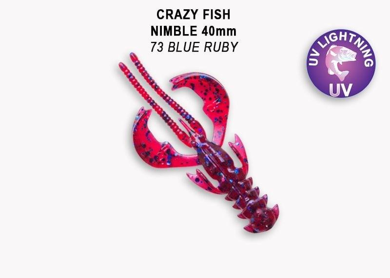 Crazy Fish Nimble 4см Силиконова примамка  73 Blue Ruby