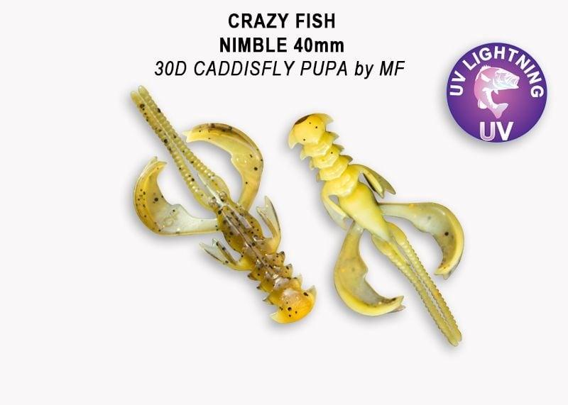 Crazy Fish Nimble 4см Силиконова примамка  30D Caddisfly Pupa