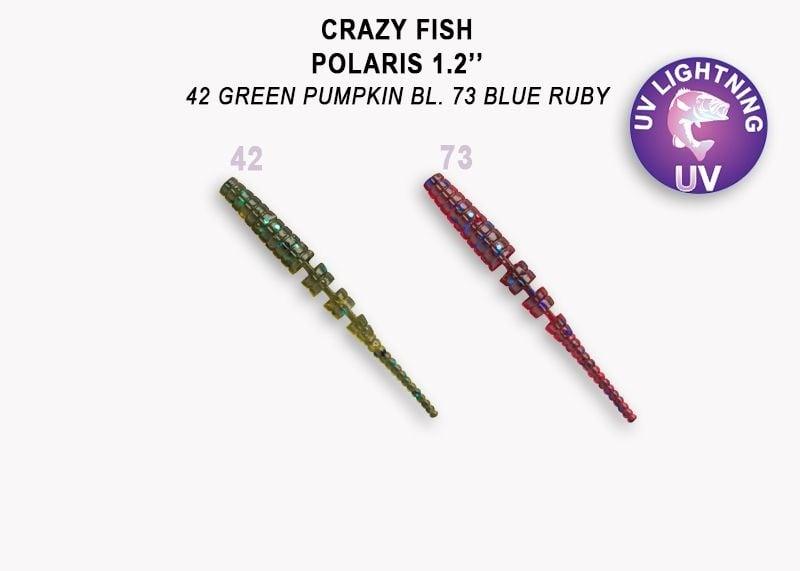 Crazy Fish Polaris 3см Силиконова примамка 42 Green Pumpkin - 73 Blue Ruby