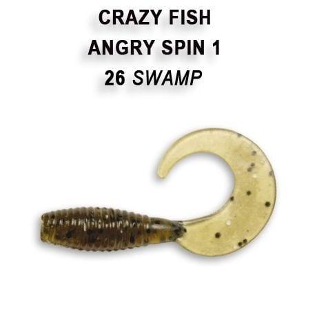 Crazy Fish Angry Spin 2,5см Силиконова примамка  26 Swamp