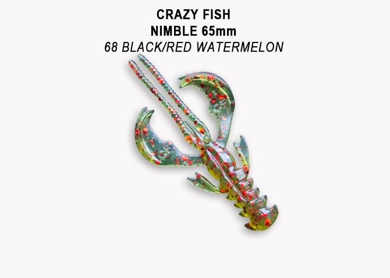 Crazy Fish Nimble 6.5см Силиконова примамка  68 Black/Red Watermelon