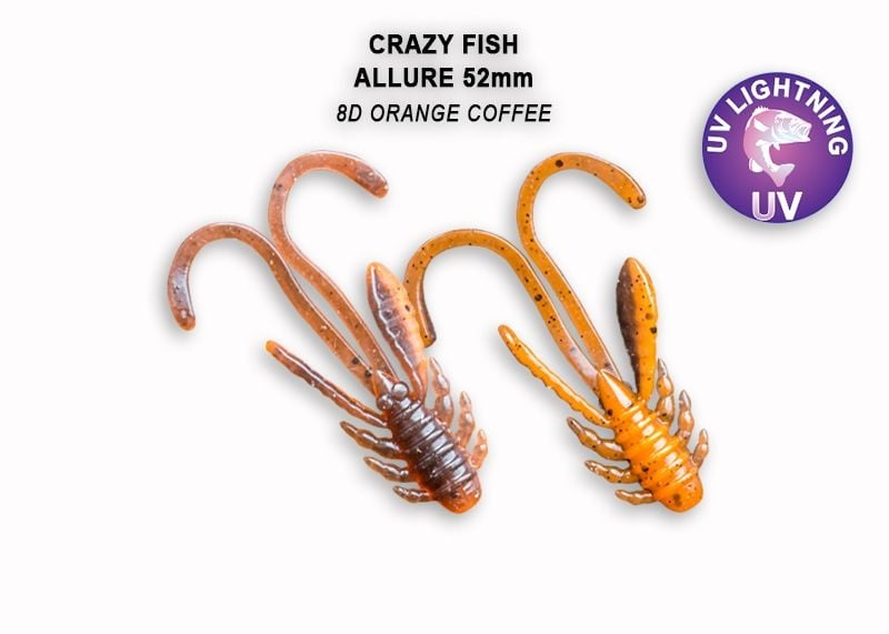 Crazy Fish Allure 5.2см Силиконова примамка 8D Orange Coffee