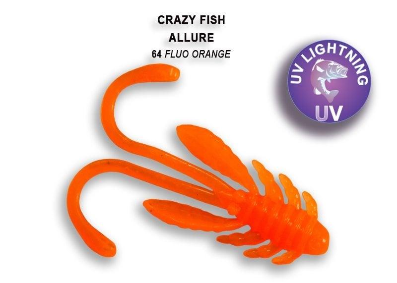 Crazy Fish Allure 4см Силиконова примамка 64 Fluo Orange