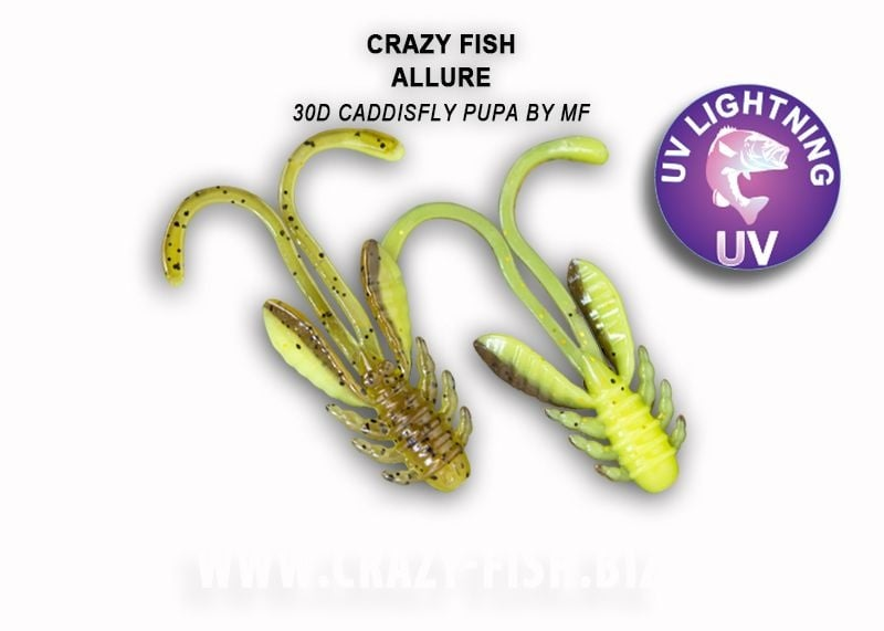 Crazy Fish Allure 4см Силиконова примамка 30D Caddisfly Pupa