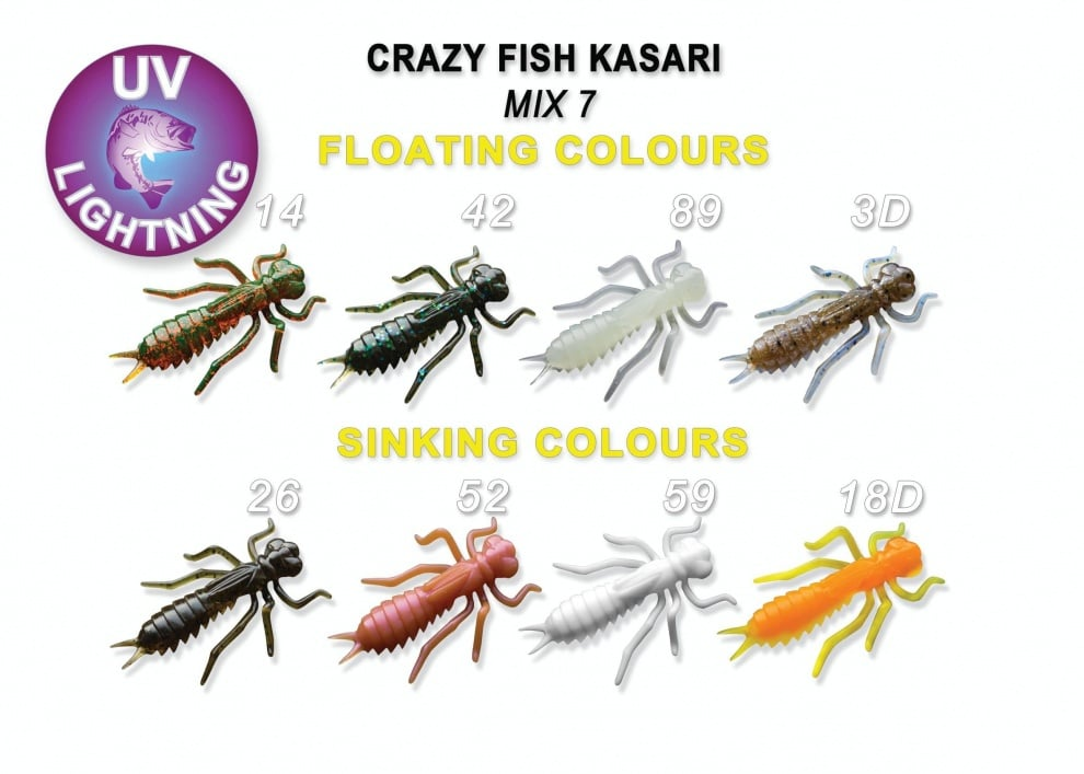 Crazy Fish Kasari 2.7см Силиконова примамка Mix 7