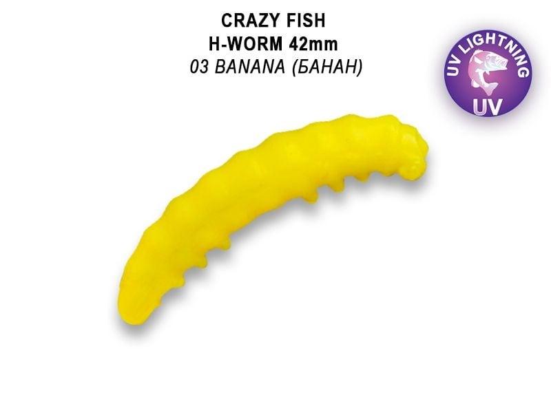 Crazy Fish MF H-Worm 4.2см Силиконова примамка  03 Banana