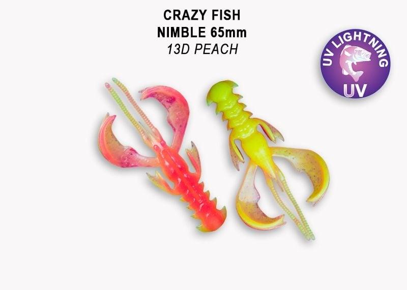 Crazy Fish Nimble 6.5см Силиконова примамка  13D Peach