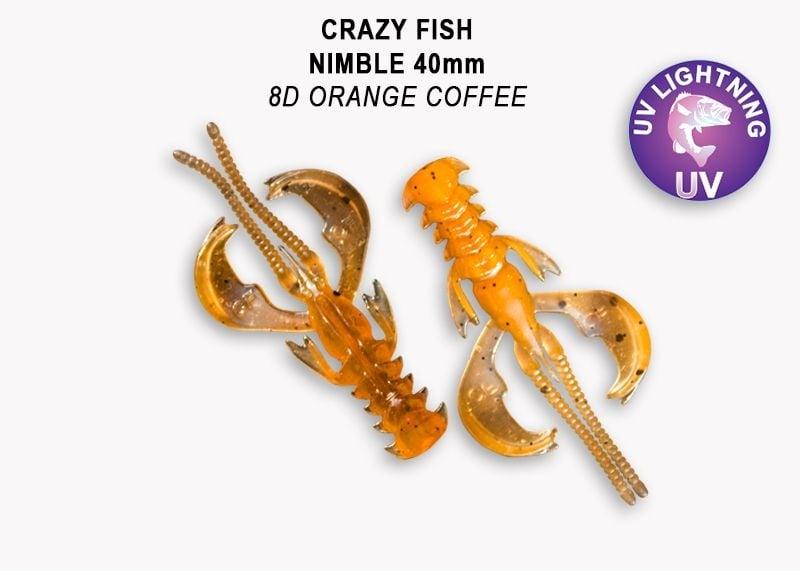 Crazy Fish Nimble 4см Силиконова примамка  8D Orange Coffee