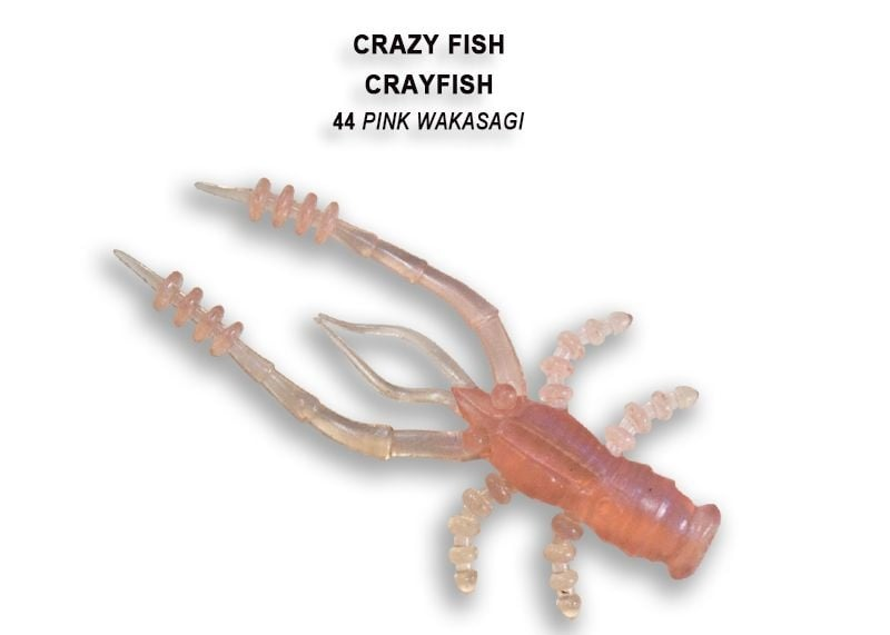 Crazy Fish CrayFish 4.5см Силиконова примамка 44 Pink Wakasagi